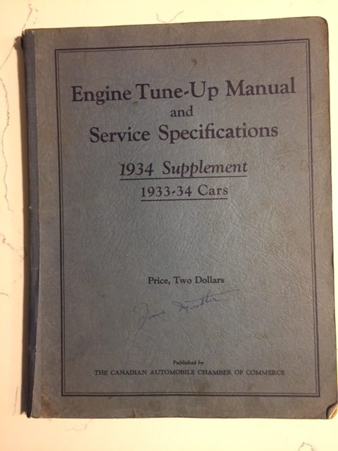 1934 All Models Engine Tune Up  U0026 Service Specifications